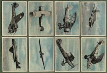 Cigarette cards set Fighting & Civil Aircraft 1936, Hurricane, Hawkers, Vickers